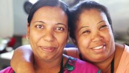 two happy female friends Footage