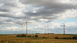 windmills in Germany in rural area Footage