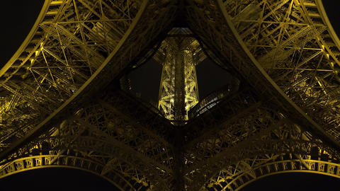 The Eiffel Tower in Paris. Night. France. 4K Footage