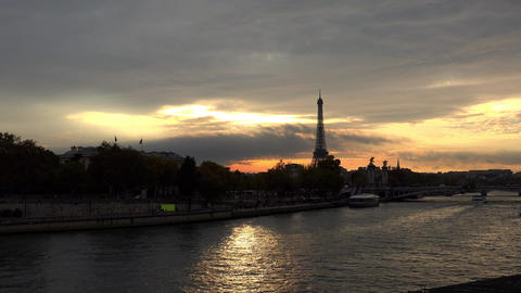 The Eiffel Tower in Paris. Sunset France. 4K Live Action