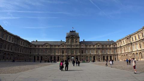 Louvre. The famous art museum in Paris. France. 4K Live Action