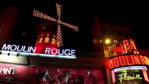 The Moulin Rouge Cabaret At Night. Paris. France. 4K stock footage