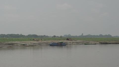 Ayeyarwady river, fishing villages along the river Footage