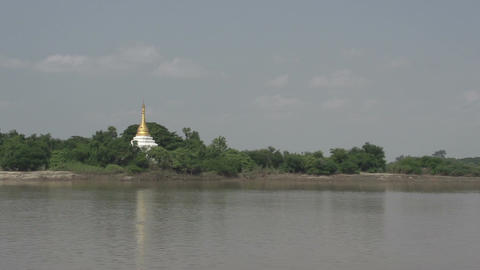 Ayeyarwady river, pagoda at the river side Footage