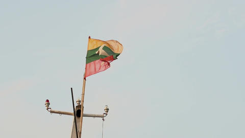 Ayeyarwady river, flag from Myanmar, Burma Footage