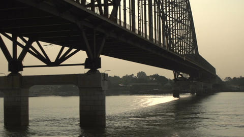 Ayeyarwady River, Bridge Over The River At Sunset stock footage