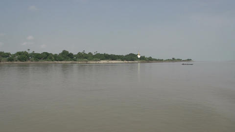 Ayeyarwady river, cargo ship passing by Live Action