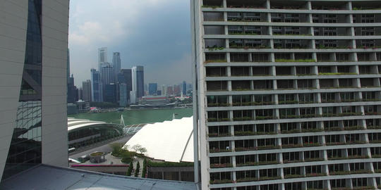 aerial flight through marina bay sands structure Footage