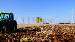 October 2015,Balotesti Near Bucharest, Romania.Agriculture Tractor Plowing stock footage