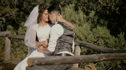 2666 the groom kisses the bride on a wooden rustic old bench Footage