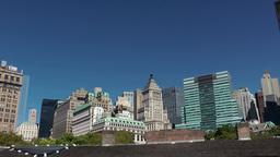New York City 393 Lower Manhattan skyline; different speeds pan Footage