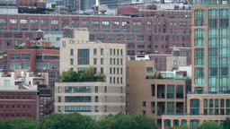 USA New York City 382 Manhattan Midtown Hudson River Facades business buildings Footage
