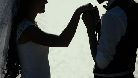 a man kissing a woman's hand groom bride Footage