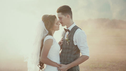 The Bride And Groom Kiss In The Mist At Sunset stock footage