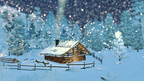Cozy little hut in mountains at snowfall night Footage