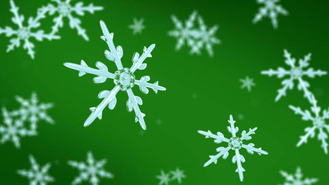 snowflakes focusing background green Animation
