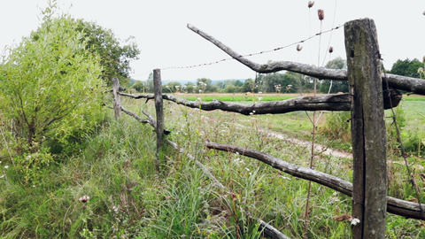 Rusty barbed wire on old posts Footage