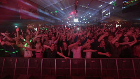 Big crowd / audience dancing and jumping at an EDM Festival in the Netherlands Footage