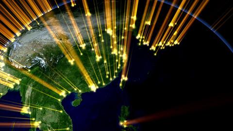 Earth globe rotation with beam light Japan Stock Video Footage