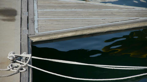 Plank Road and cable Rope reflection in water,Tie,Ripple Stock Video Footage