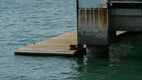 Terminals and water surface,Pier,boardwalk,Dam,floating,rust Stock Video Footage