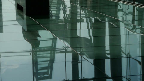 Person's shadow,Figure reflection on marble floor at... Stock Video Footage