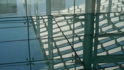 Smooth surface,reflection of roof,Luxury mall glass... Stock Video Footage