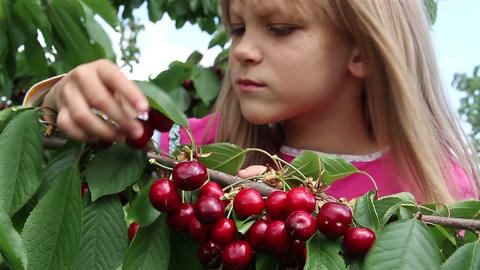 Girl and a cherry Footage
