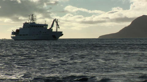 South Georgia: expedition ship in a bay 1 Stock Video Footage