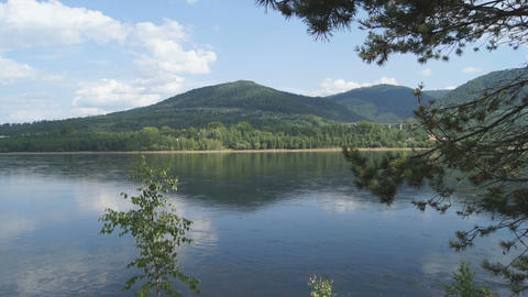 Yenisei River Landscape 03 Stock Video Footage