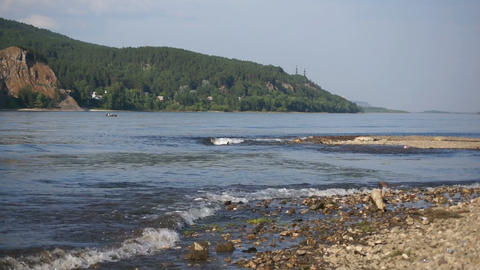River Yenisei Waves Stock Video Footage