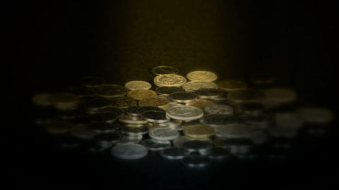 Coin Fall in golden dark space,group of RMB coins and... Stock Video Footage