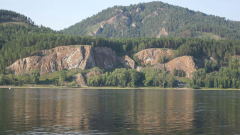Yenisei River Mountainous Shore Stock Video Footage