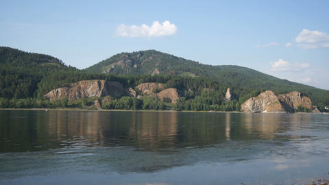 Yenisei River landscape with fisherman's boat Stock Video Footage