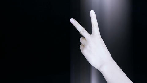 Count from one to five,hand sign and rays lights Stock Video Footage