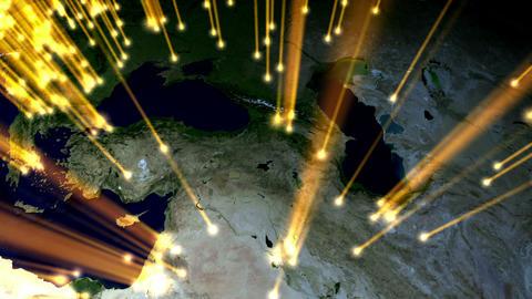 Earth globe rotation with beam light Korea Stock Video Footage