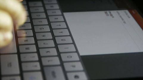 Typing an email on a touchscreen keyboard,Virtual... Stock Video Footage