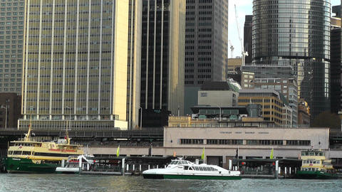 Circular Quay Port in Sydney 03 Stock Video Footage
