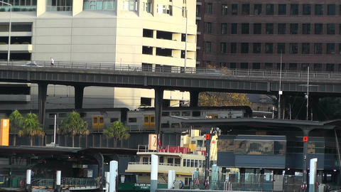 Circular Quay Port in Sydney 05 trains Stock Video Footage