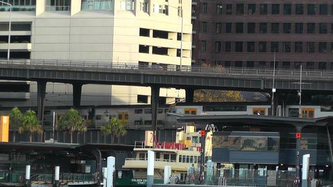 Circular Quay Port in Sydney 05 trains Stock Video Footage