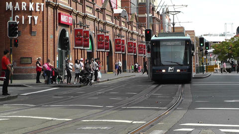 Haymarket Sydney Market City Hay Street 06 tram Stock Video Footage