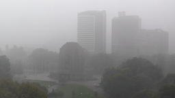 Heavy Rain in Sydney Hyde Park 02 Anzac Memorial Stock Video Footage