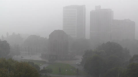 Heavy Rain in Sydney Hyde Park 02 Anzac Memorial Footage