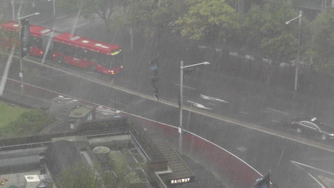 Heavy Rain in Sydney Museum Railway Station Stock Video Footage