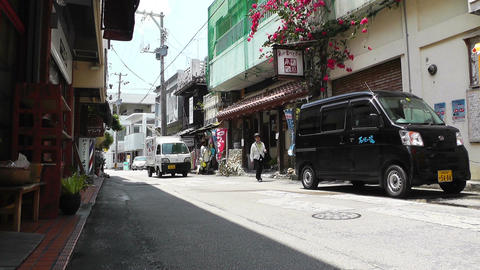 Rural Town in Okinawa Islands 24 street Stock Video Footage