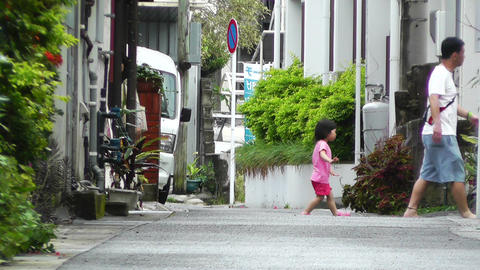 Rural Town Street in Okinawa Islands 04 Stock Video Footage