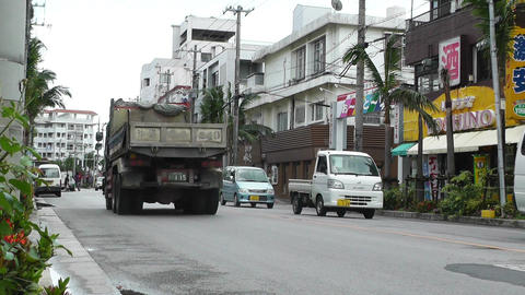 Rural Town Traffic in Okinawa Islands 01 Stock Video Footage