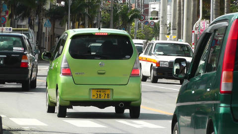 Rural Town Traffic in Okinawa Islands 11 Stock Video Footage