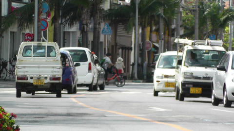 Rural Town Traffic in Okinawa Islands 13 60fps native... Stock Video Footage