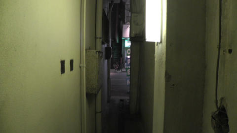 Scary Narrow Alley 02 handheld Stock Video Footage